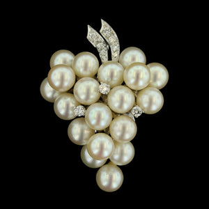 14K White Gold Cultured Pearl and Diamond Pin