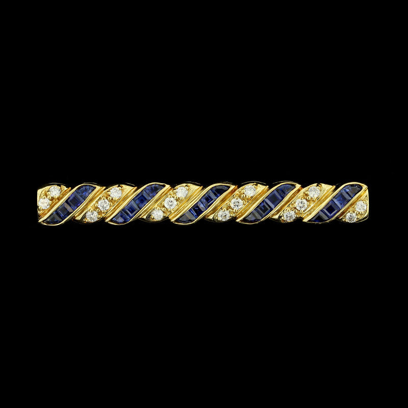 18K Yellow Gold Sapphire and Diamond Bar Pin