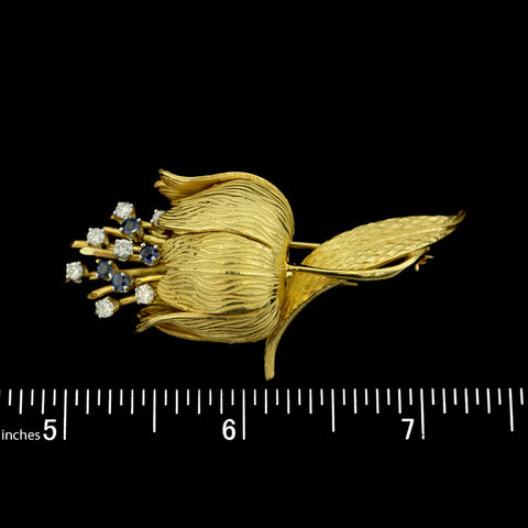 18K Yellow Gold Sapphire and Diamond Brooch