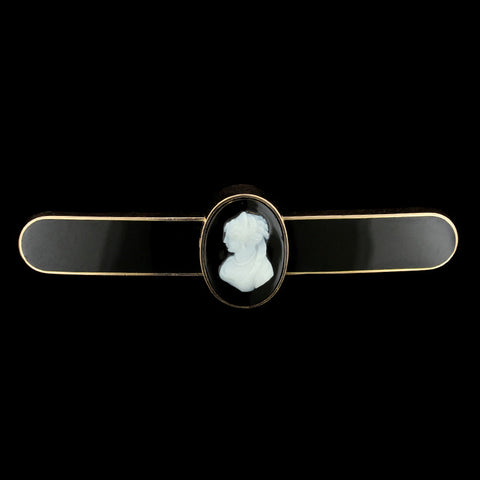14K Rose Gold Onyx and Cameo Pin