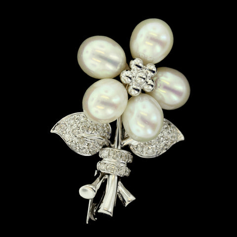 14K White Gold Fresh Water Pearl and Diamond Pin