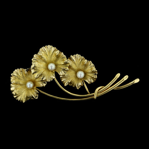 14K Yellow Gold Pearl Flower Pin