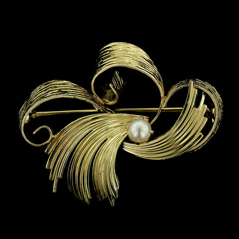 14K Yellow Gold Pearl Pin