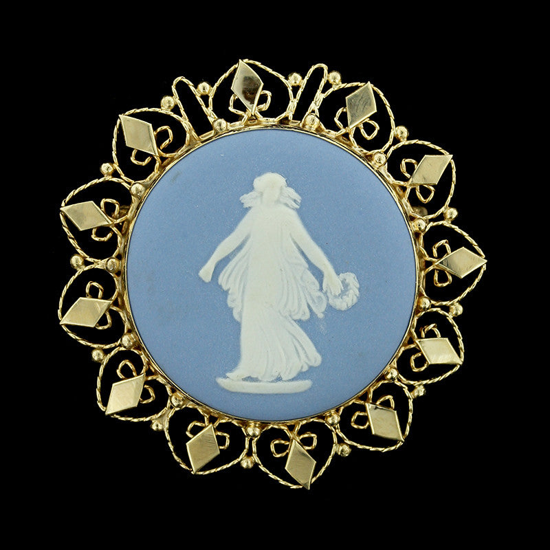 14K Yellow Gold Wedgewood Pin/Pendant