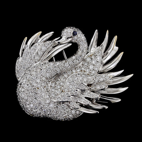 18K White Gold Diamond and Sapphire Swan Pin