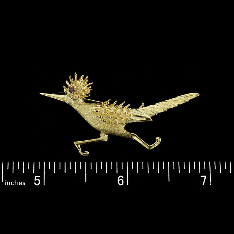 14K Yellow Gold Road Runner Pin