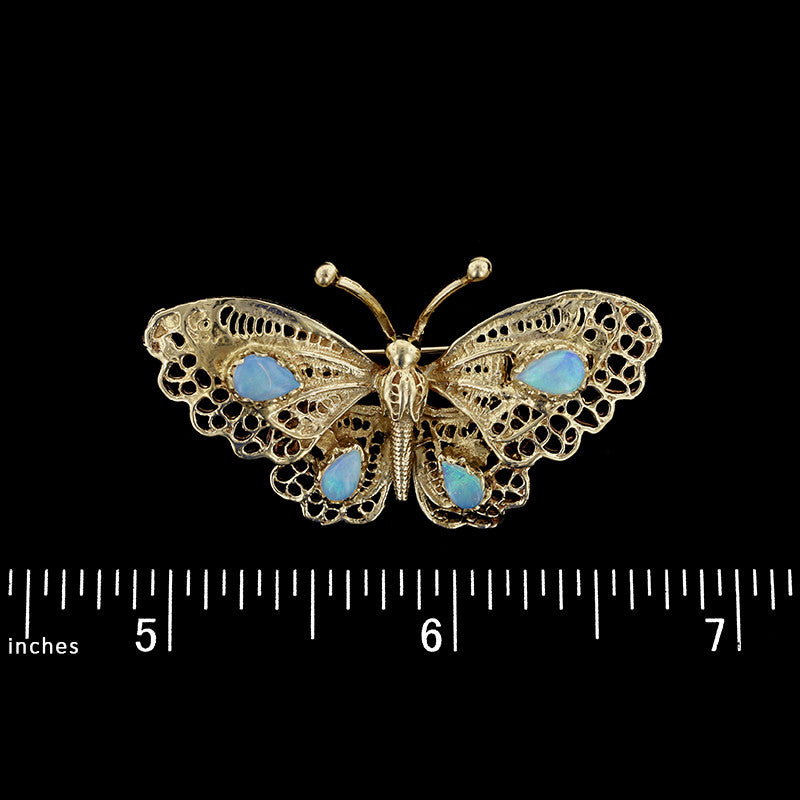 14K Yellow Gold Opal Butterfly Pin