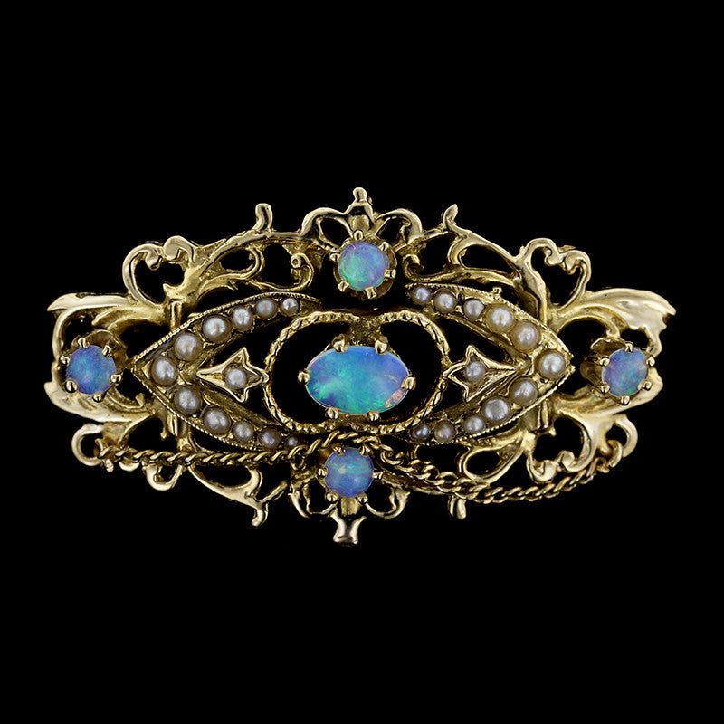 14K Yellow Gold Opal and Pearl Pin
