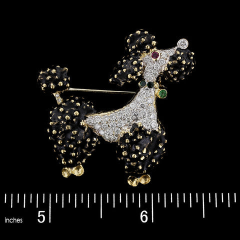 18K Yellow Gold Black Enamel and Diamond Poodle Pin