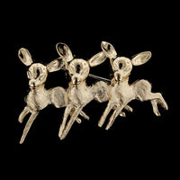 14K Yellow Gold Three Deer Pin