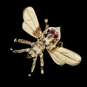 14K Yellow Gold Ruby Insect Pin