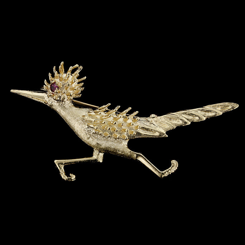 14K Yellow Gold Roadrunner Pin