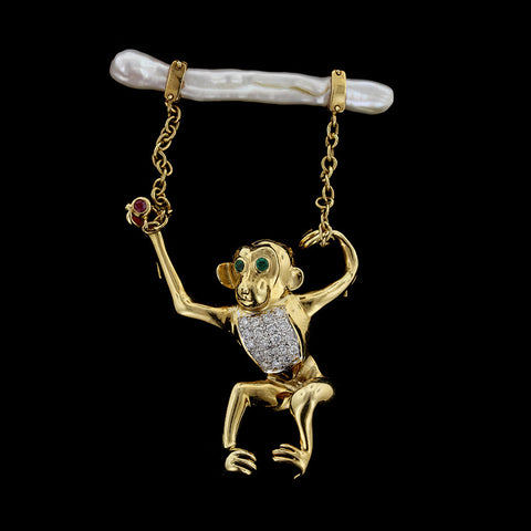 18K Yellow Gold Gem-set and Pearl Monkey Pin