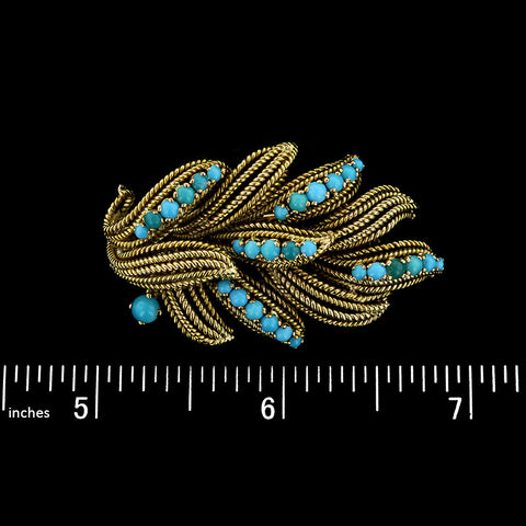 Vourakis 18K Yellow Gold Turquoise Pin