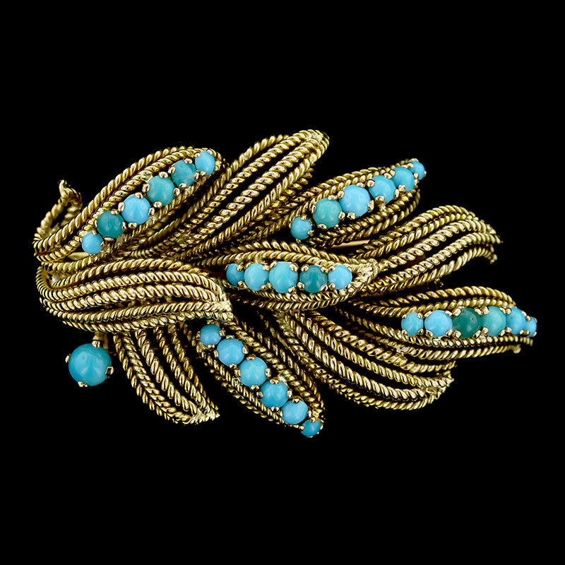 18K Yellow Gold Turquoise Pin