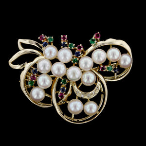 14K Yellow Gold Cultured Pearl, Gem-set and Diamond Pin