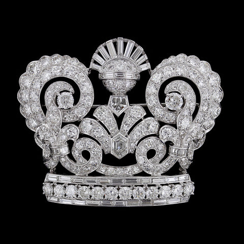 Platinum Diamond Crown Pin