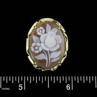 18K Yellow Gold Estate Carved Cameo Flower Pin/Pendant
