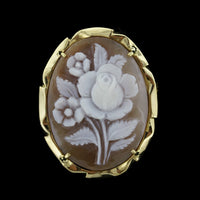 18K Yellow Gold Carved Cameo Flower Pin/Pendant