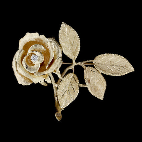 14K Yellow Gold Rose and Diamond Pin