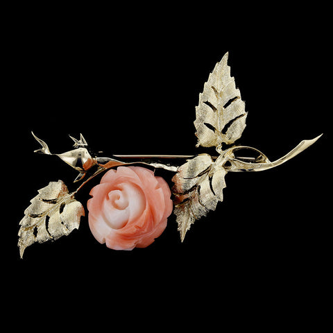 14K Yellow Gold Carved Coral Rose Pin