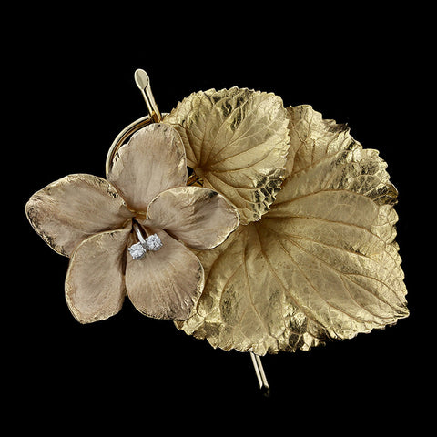 14K Yellow Gold Diamond Flower Pin