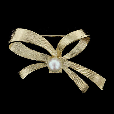 14K Yellow Gold Cultured Pearl Bow Pin