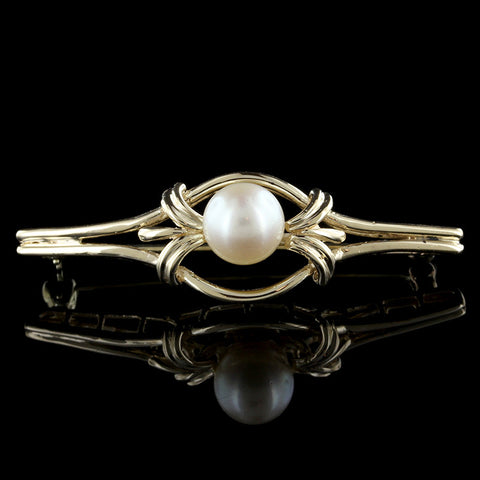 14K Yellow Gold Cultured Pearl Bar pin
