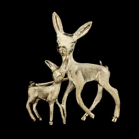 14K Yellow Gold Doe and Fawn Pin