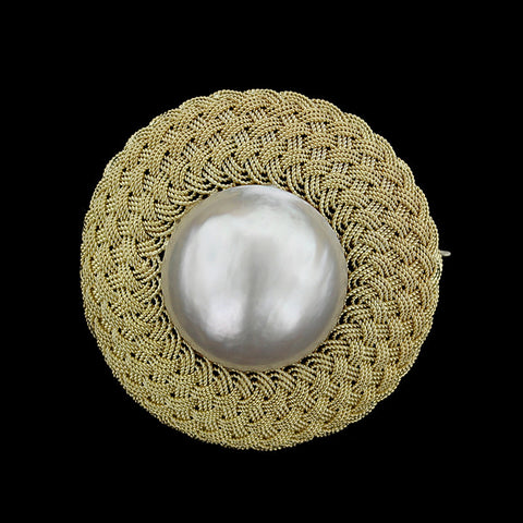 18K Yellow Gold Mabe Pearl Pin