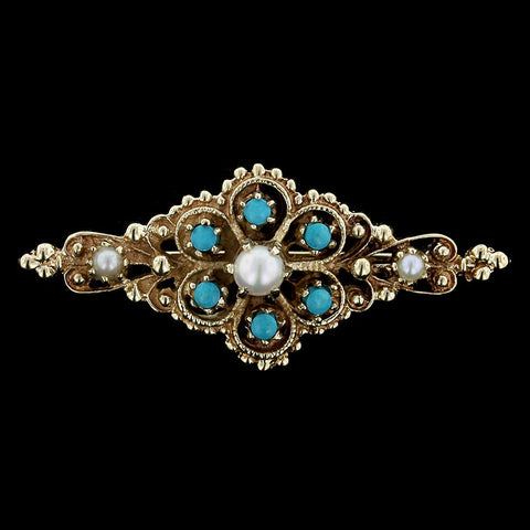 14K Yellow Gold Pearl and Turquoise Pin
