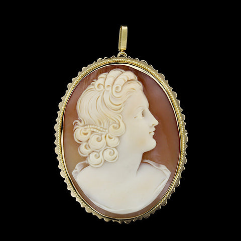 18K Yellow Gold Cameo Pin/Pendant