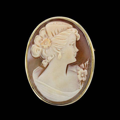 14K Yellow Gold Cameo Pin/Pendant