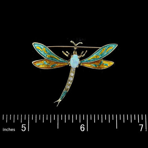14K Yellow Gold Opal, Enamel and Diamond Dragonfly Pin