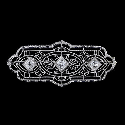 Antique 14K White Gold Diamond Pin
