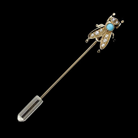 14K Yellow Gold Pearl and Turquoise Fly Stick Pin