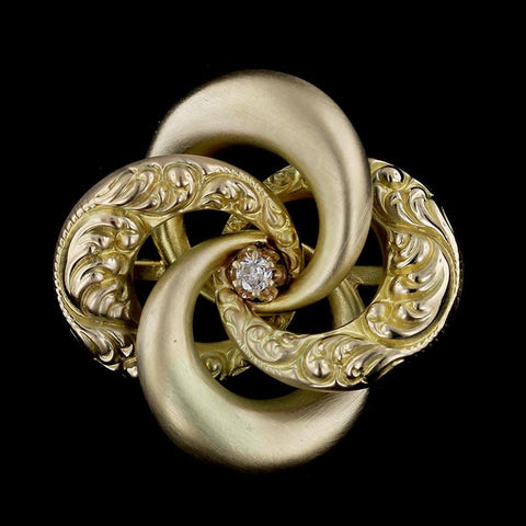 14K Yellow Gold Diamond Love Knot Pin