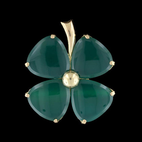 18K Yellow Gold Green Onyx Clover Pin/Pendant