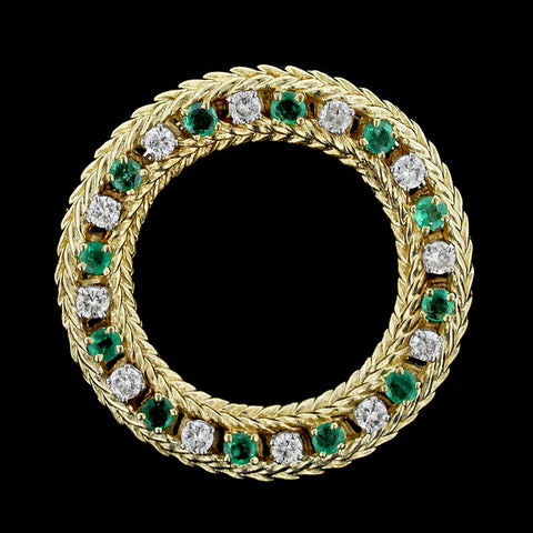 18K Yellow Gold Emerald and Diamond Pin