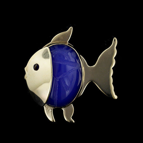 14K Yellow Gold Blue Onyx Fish Pin