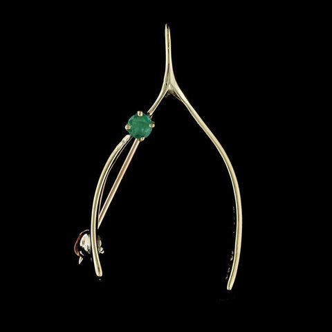 14K Yellow Gold Wishbone Pin