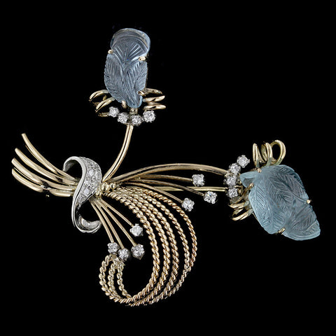 Retro 14K Two-tone Gold Carved Aquamarine and Diamond Pin