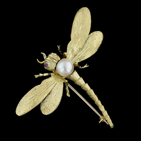18K Yellow Gold Freshwater Pearl and Ruby Dragonfly Pin