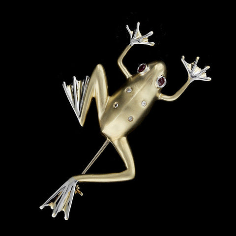 14K Two-tone Ruby and Diamond Frog Pin
