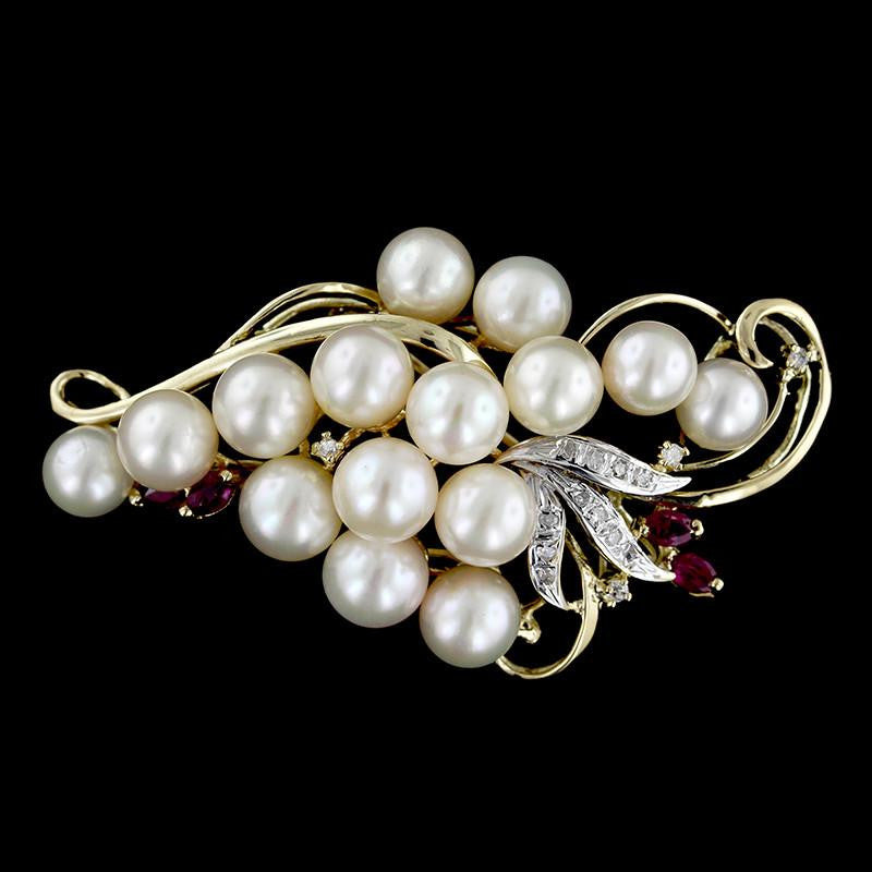 14K Yellow Gold Cultured Pearl, Ruby and Diamond Pin