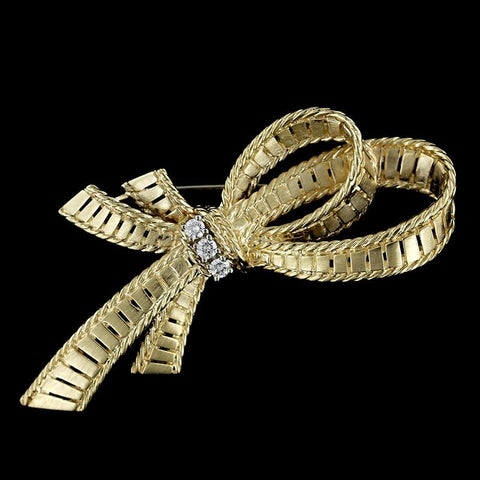 14K Yellow Gold Diamond Ribbon Pin