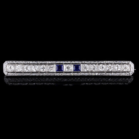 Vintage Platinum Diamond and Sapphire Bar Pin