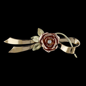 Vintage 14K Tricolor Rose Pin
