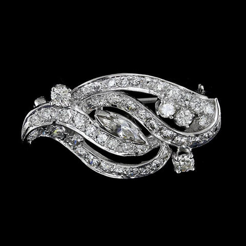 14K White Gold Diamond Pin