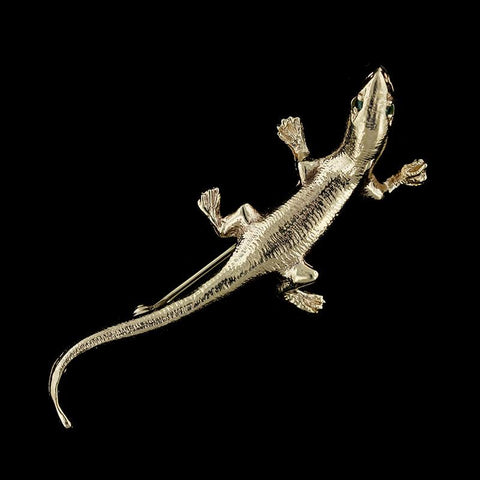 14K Yellow Gold Salamander Pin